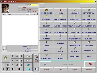 Cash register software using RFID card and table reader